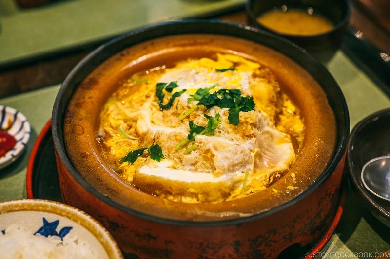 Tofu katsu-ni set meal at Tamura Ginkatsu-tei - Hakone Gora Travel Guide | www.justonecookbook.com
