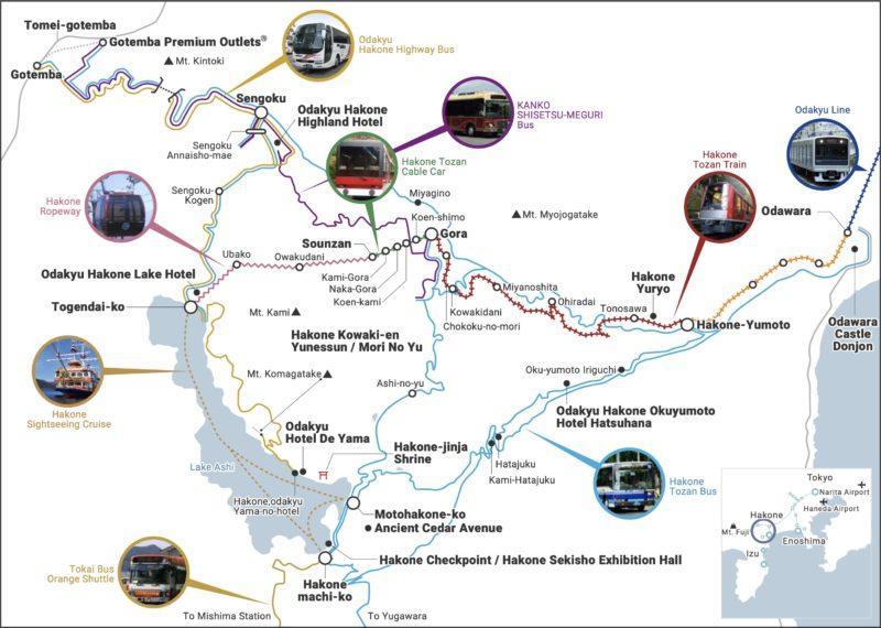 Map of Hakone and Hakone Freepass network - Hakone-Yumoto and Hakone Freepass Guide | www.justonecookbook.com