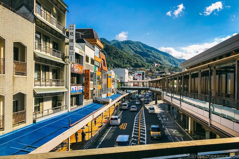 on the pedestrian walkway overlooking the main street - Hakone-Yumoto and Hakone Freepass Guide | www.justonecookbook.com