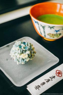 Nerikiri served on a plate along with matcha.