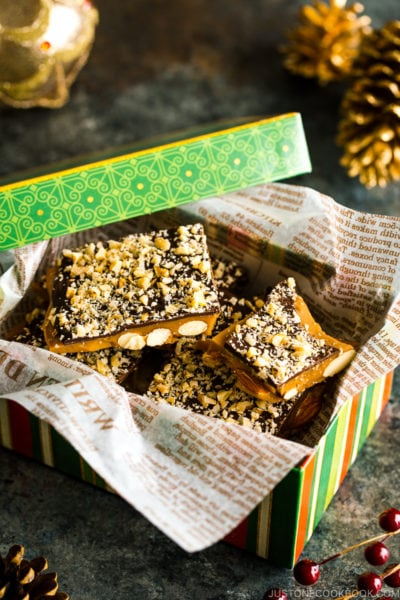 A holiday box containing Chocolate Almond Toffee.