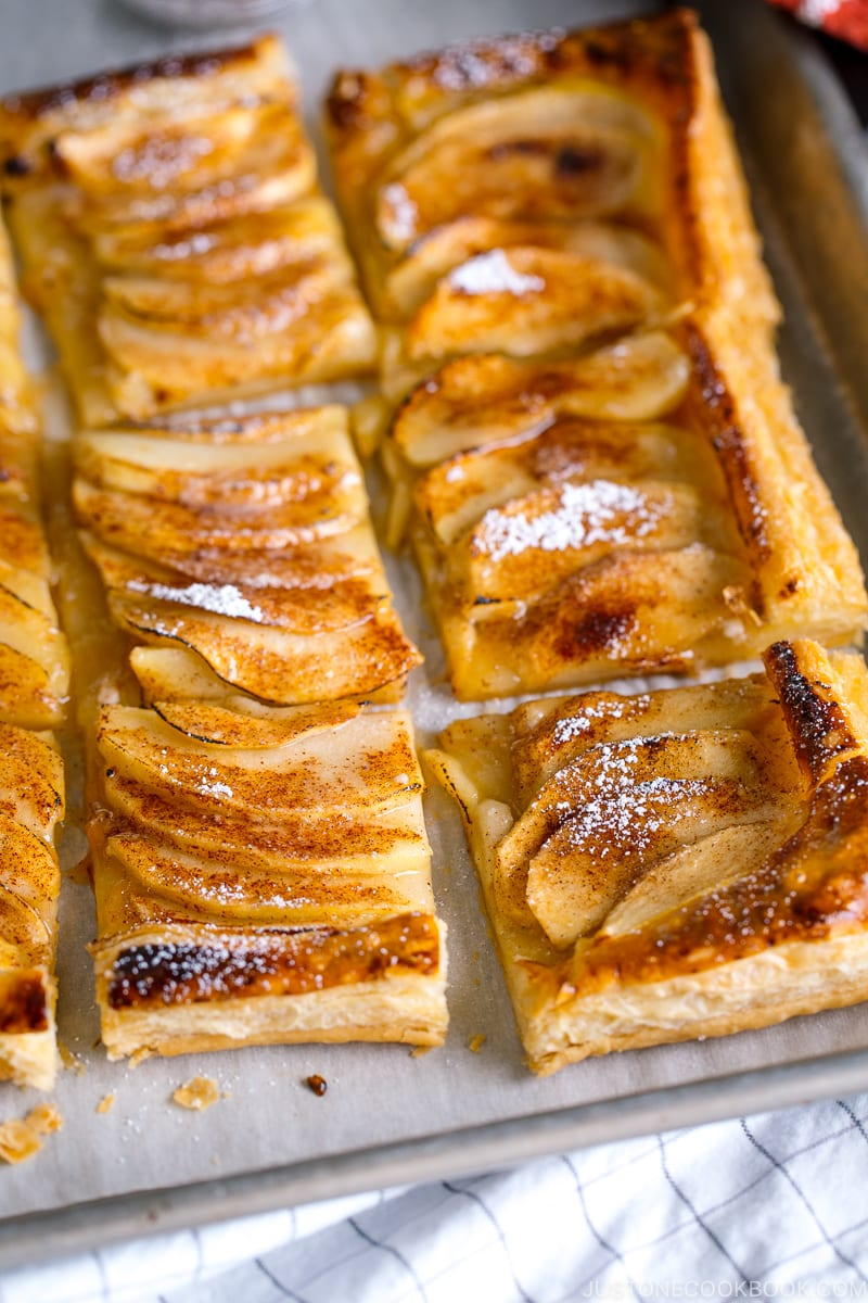 easy apple tart recipe made with puff pastry