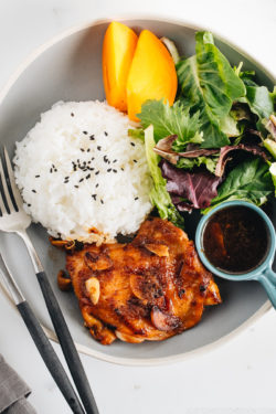 A large gray plate containing garlic onion chicken, green leaf salad, and steamed rice.