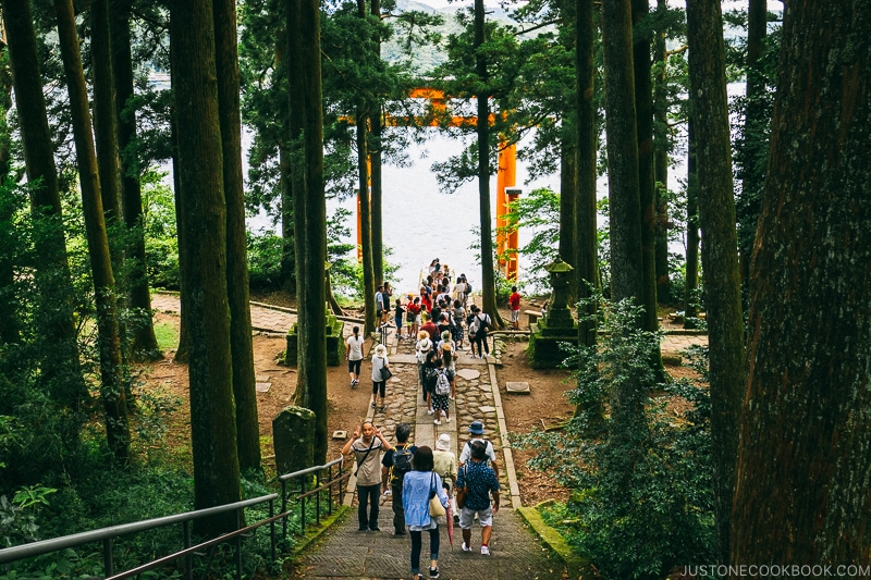 visitors lined up at the torii gate at Hakone Shrine - Hakone Lake Ashi Guide | www.justonecookbook.com