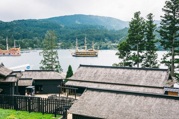 pirate ships on Lake Ashi from Hakone Checkpoint lookout - Hakone Lake Ashi Guide | www.justonecookbook.com