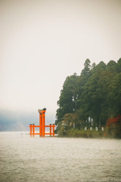 Hakone Shrine torii gate on Lake Ashi - Hakone Lake Ashi Guide | www.justonecookbook.com