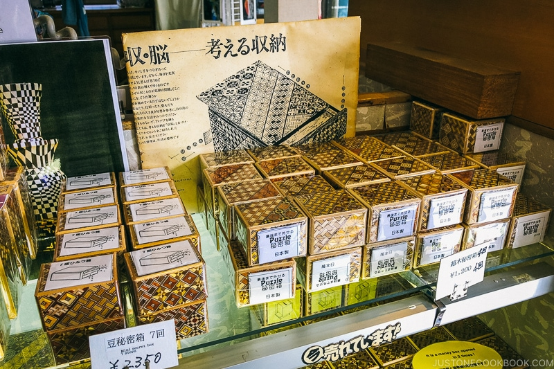 Japanese wooden puzzle boxes