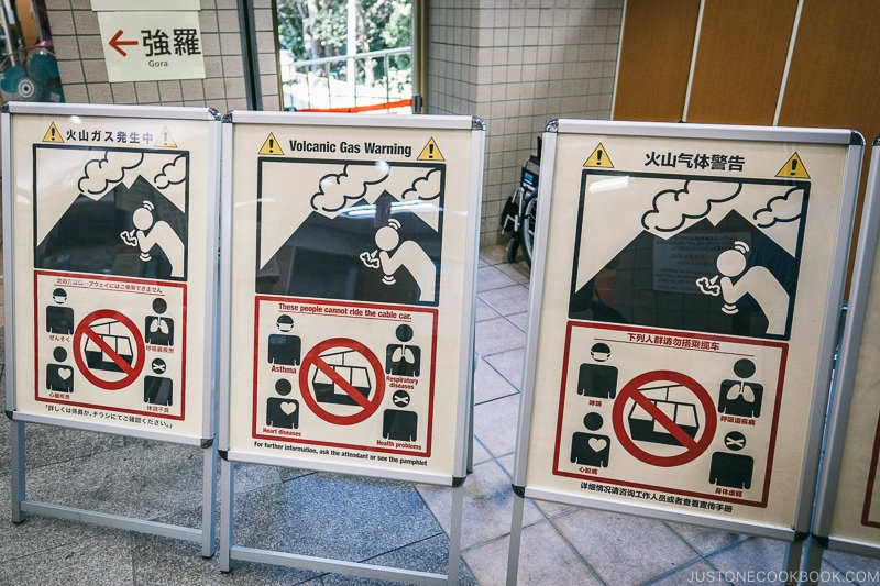 Warning signs for volcanic gas inside Sounzan Station - Hakone Ropeway and Owakudani Hell Valley | www.justonecookbook.com