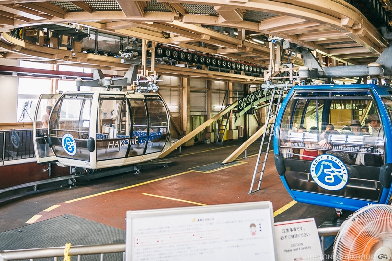 Gondola inside Sounzan Station - Hakone Ropeway and Owakudani Hell Valley | www.justonecookbook.com