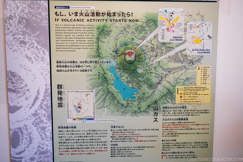 volcanic activity info - Hakone Ropeway and Owakudani Hell Valley | www.justonecookbook.com