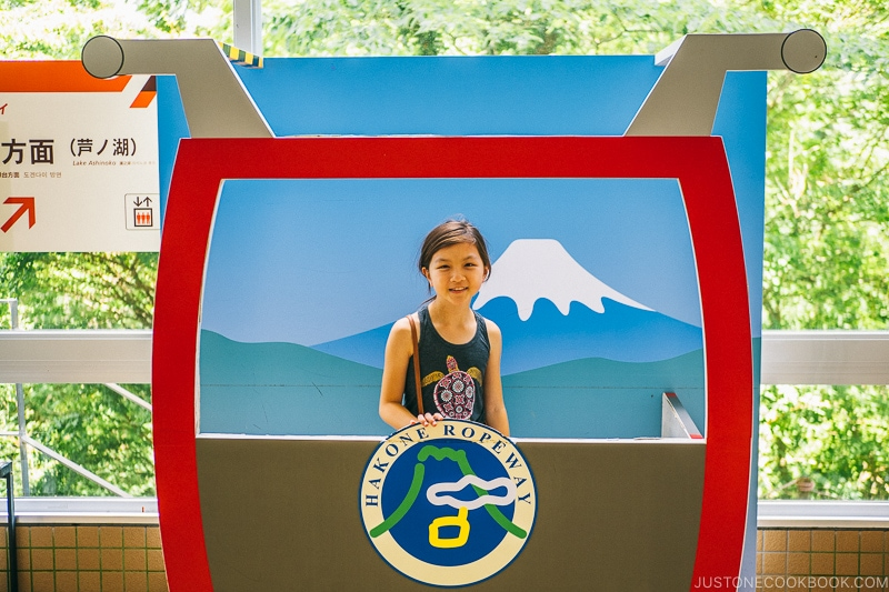 girl behind Hakone Ropeway paper cutout - Hakone Ropeway and Owakudani Hell Valley | www.justonecookbook.com