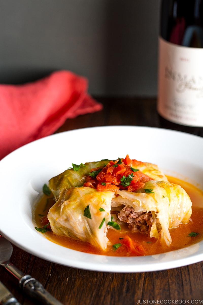 Japanese Stuffed Cabbage Rolls - Served in a tomato based sauce, this Stuffed Cabbage Rolls dish is a beloved western-style Japanese dish