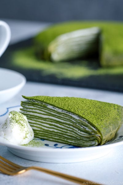 Matcha Mille Crepe Cake served on a plate.