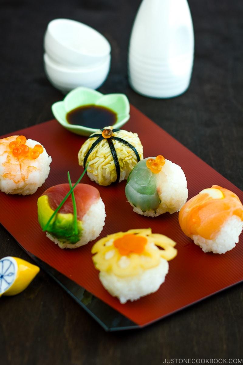 Temari sushi on a plate.