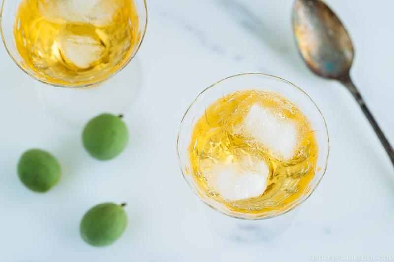 Japanese plum wine (umeshu) in a crystal glass.