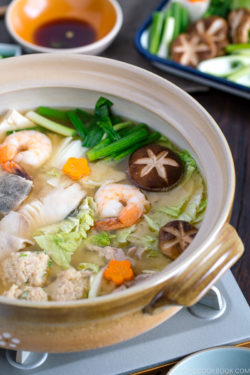 Chanko Nabe in a donabe hot pot.