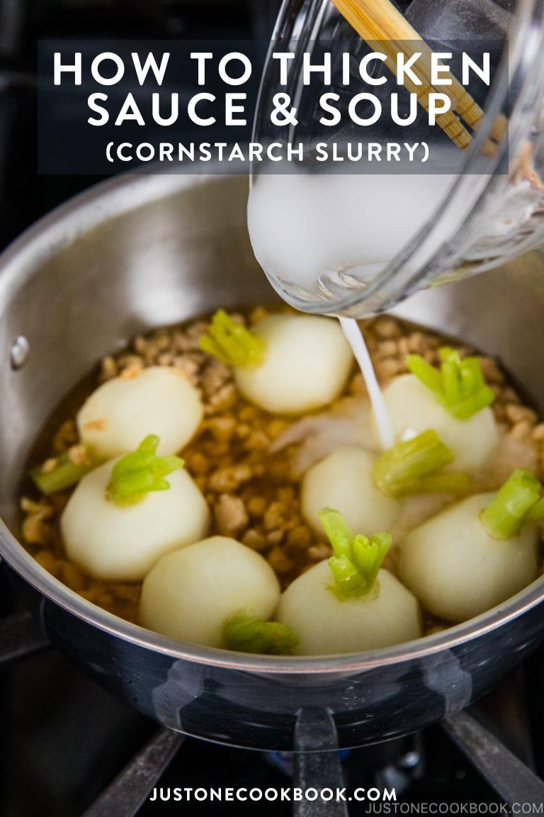 Thickened sauce after adding adding cornstarch slurry.