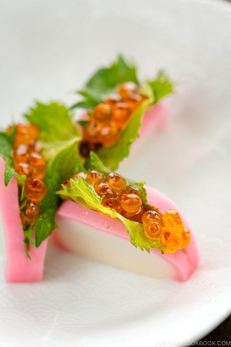 Salmon roe and shiso leaf stuffed inside the kamaboko fish cake.