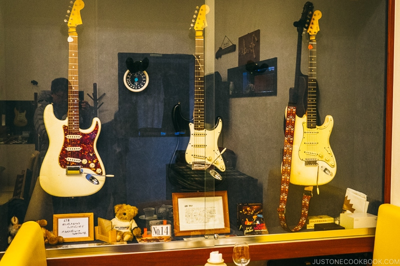 Guitars in a display case - Celebrate New Year at Isawa Onsen in Yamanishi | www.justonecookbook.com