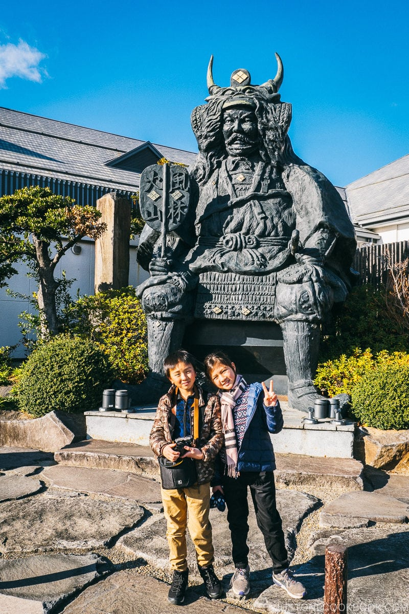 Takeda Shingen statue at Hibiki No Sato - Celebrate New Year at Isawa Onsen in Yamanishi | www.justonecookbook.com