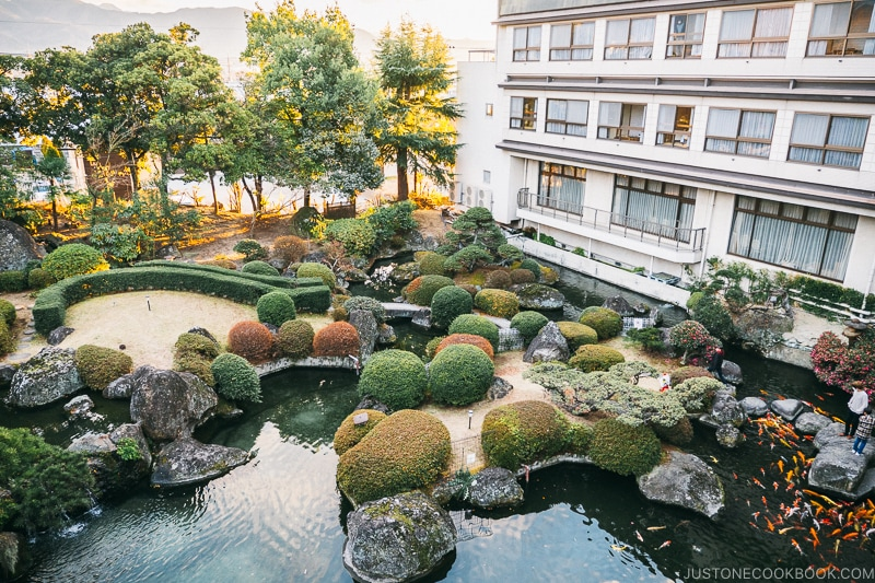 Japanese garden at Hotel Sekifu - Celebrate New Year at Isawa Onsen in Yamanishi | www.justonecookbook.com
