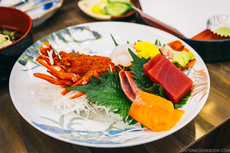 Assorted sashimi including lobster, tuna, and salmon - Celebrate New Year at Isawa Onsen in Yamanishi | www.justonecookbook.com