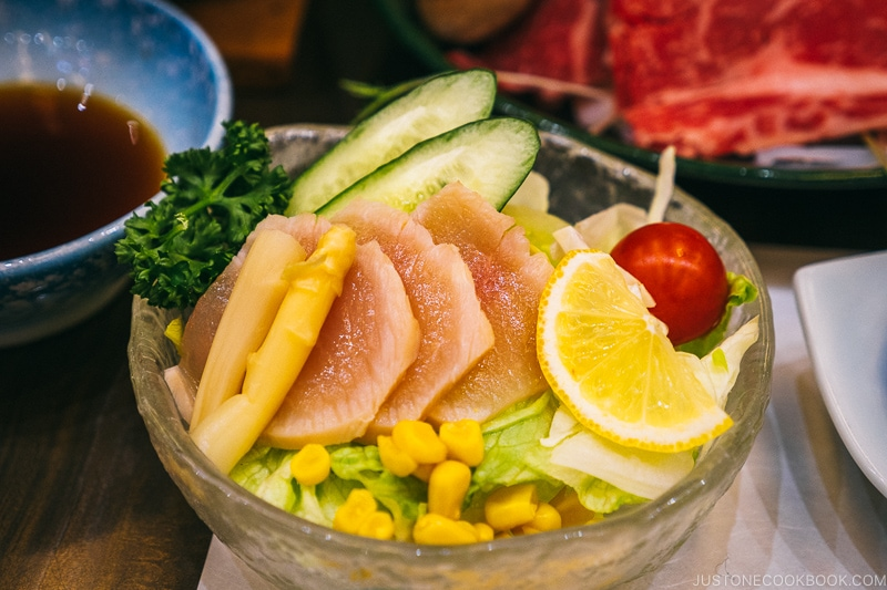 Albacore tuna tataki salad - Celebrate New Year at Isawa Onsen in Yamanishi | www.justonecookbook.com