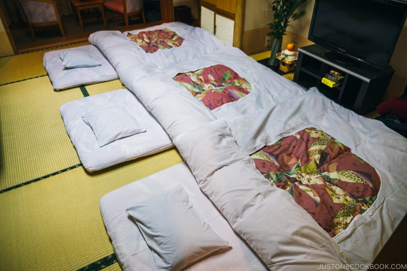 Futon made up for the night - Celebrate New Year at Isawa Onsen in Yamanishi | www.justonecookbook.com