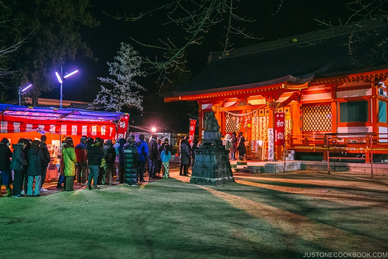 People lined at up the shrine on New Year's eve - Celebrate New Year at Isawa Onsen in Yamanishi | www.justonecookbook.com