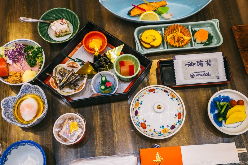 Japanese new year dishes on a table