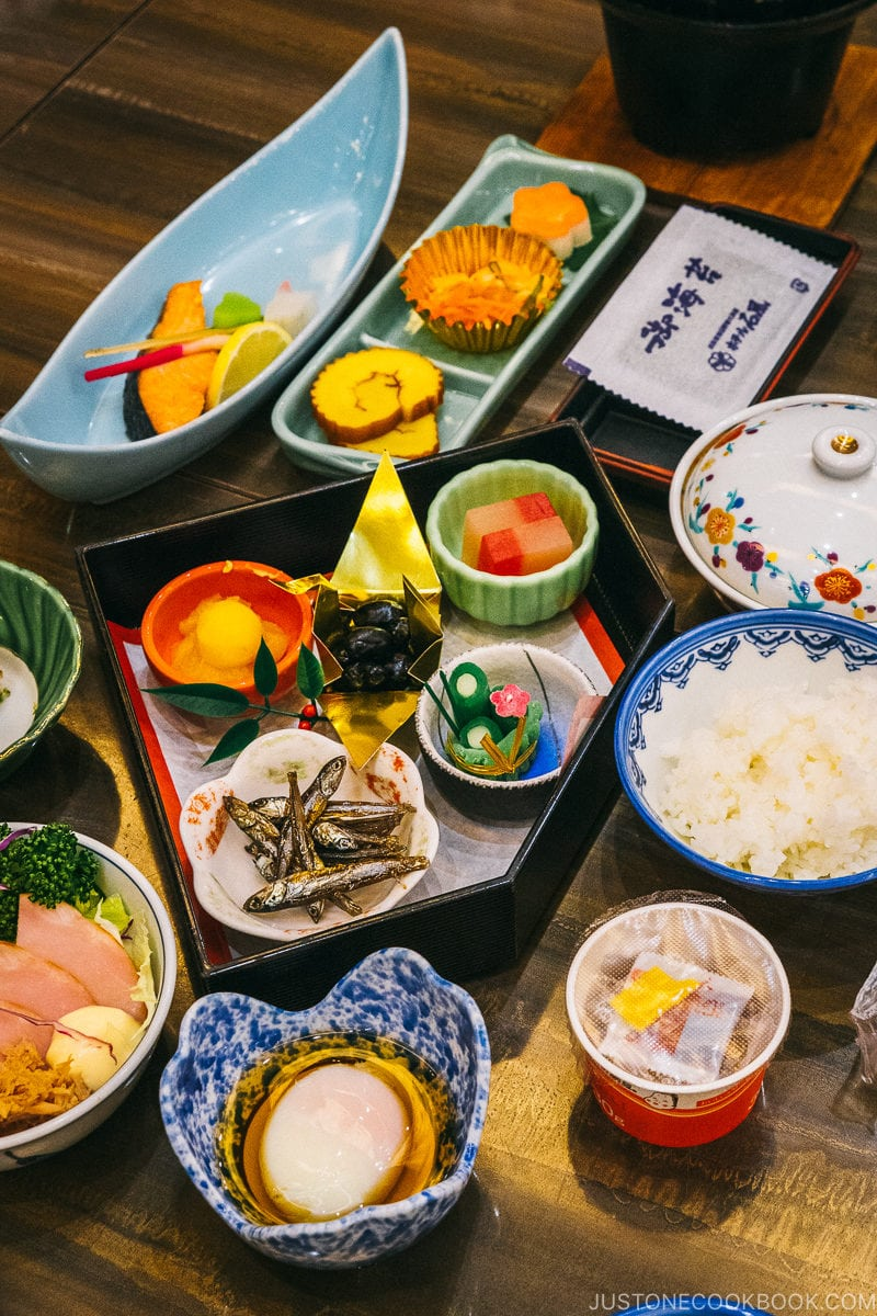 New Year's osechi ryori breakfast - Celebrate New Year at Isawa Onsen in Yamanishi | www.justonecookbook.com