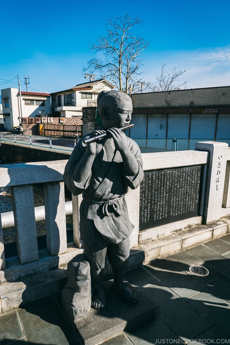 Statue at Isawa Bridge - Celebrate New Year at Isawa Onsen in Yamanishi | www.justonecookbook.com