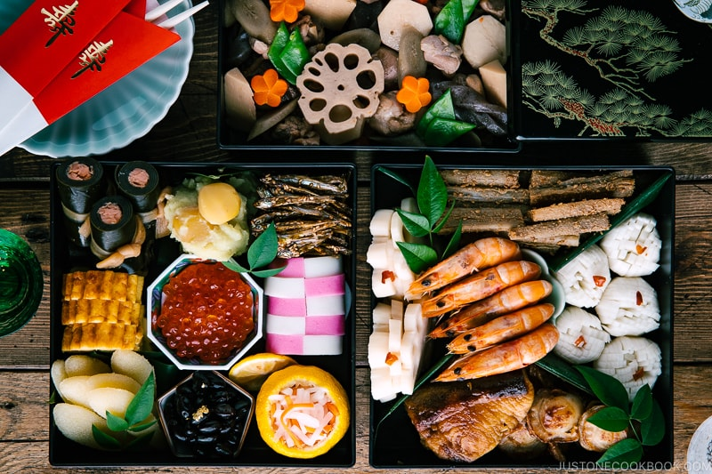 The 3-tier Osechi Ryori (Japanese New Year's Food) filled with colorful dishes.