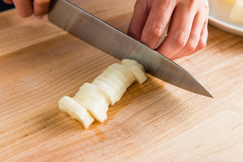 knife cutting daikon - Kikuichi Knife Giveaway | www.justonecookbook.com