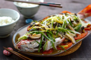 Cantonese Steamed Fish served on a big platter.