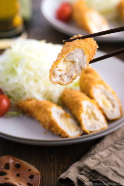 Close up shot of chicken cheese katsu.