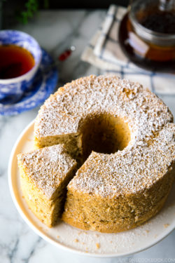 Earl Grey Chiffon Cake served on a cake stand.