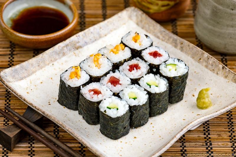 Sushi Rolls (Maki Sushi – Hosomaki) on a Japanese square plate.