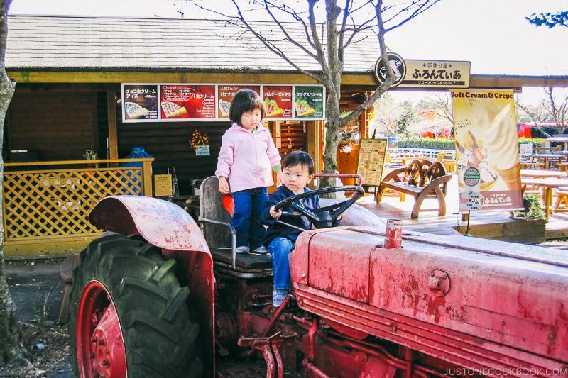 girl and boy on a farm tractor - Things to do around Lake Kawaguchi   www.justonecookbook.com