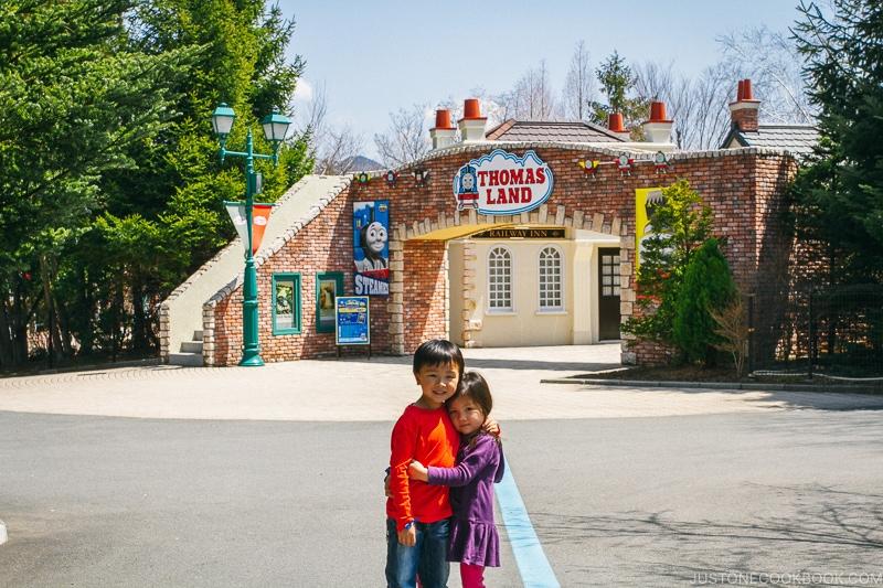 children posing in front of Thomasland - Things to do around Lake Kawaguchi   www.justonecookbook.com