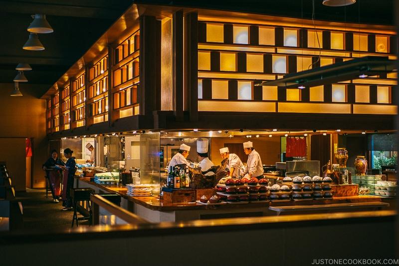 Open kitchen at Dining Mikuri at Hotel Kaneyamaen - Things to do around Lake Kawaguchi   www.justonecookbook.com