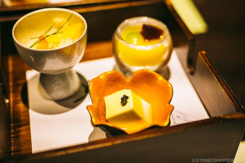 Tofu with caviar, grape Shiratama with black honey orange sauce at Hotel Kaneyamaen - Things to do around Lake Kawaguchi   www.justonecookbook.com