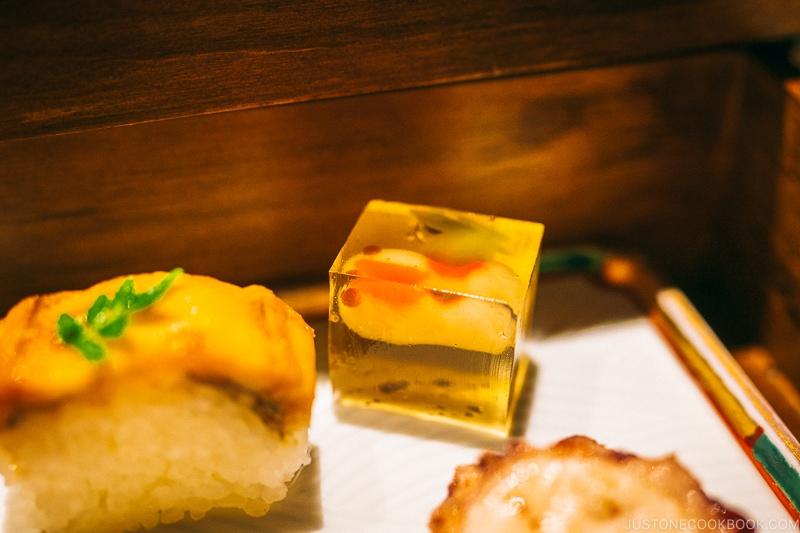Goldfish yokan and anago sushi at Hotel Kaneyamaen - Things to do around Lake Kawaguchi   www.justonecookbook.com
