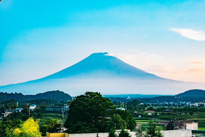 View of Mt. Fuji in the morning at Hotel Kaneyamaen - Things to do around Lake Kawaguchi   www.justonecookbook.com
