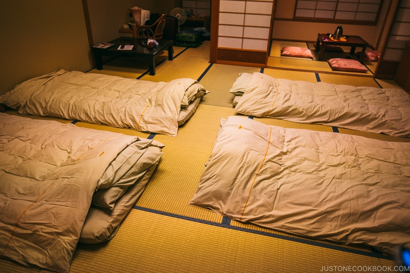 four futons made up in the room at Hotel Kaneyamaen - Things to do around Lake Kawaguchi   www.justonecookbook.com