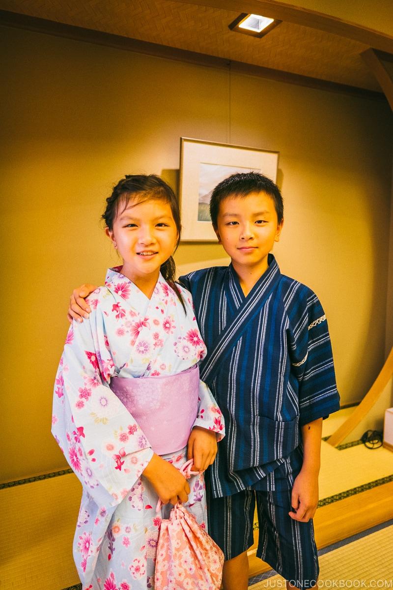 children dressed in summer yukata - Things to do around Lake Kawaguchi   www.justonecookbook.com