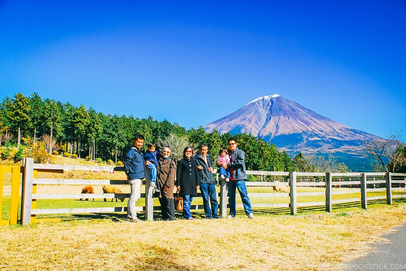 family picture in front of Mt. Fuji - Things to do around Lake Kawaguchi   www.justonecookbook.com