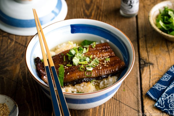 Unagi Chazuke in a Japanese donburi bowl.