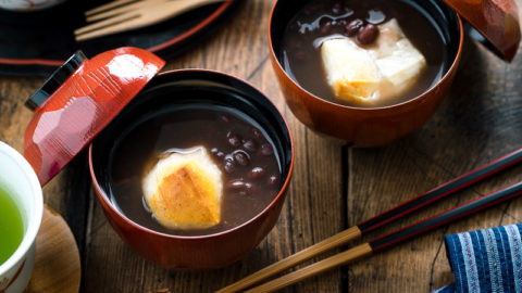 Zenzai (Oshiruko) – Red Bean Soup with Mochi ぜんざい