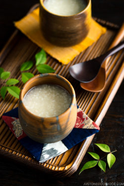 Amazake (Fermented Japanese Rice Drink) in a Japanese bizen cup.